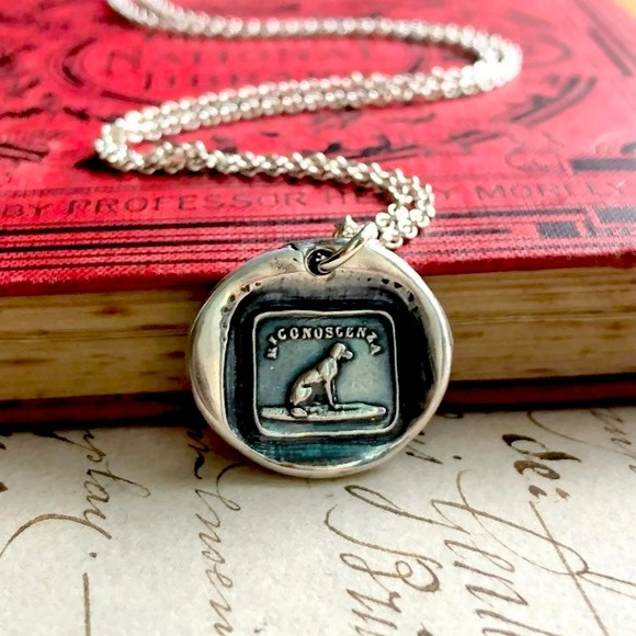 Wax Seal Stamp dog friendship necklace NEW